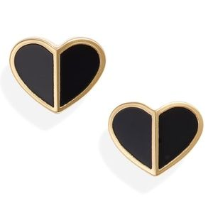 Kate Spade Earrings Black Heart Studs New